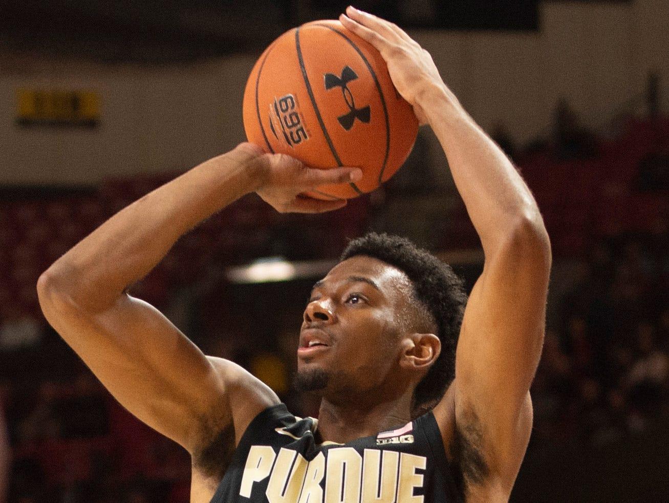 Feb 12, 2019; College Park, MD, USA; Purdue Boilermakers forward Aaron Wheeler (1) takes three point shot during the first half against the Maryland Terrapins at XFINITY Center. Mandatory Credit: Tommy Gilligan-USA TODAY Sports