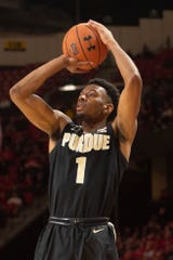 Purdue forward Aaron Wheeler (1) takes three point shot during the first half against the Maryland Terrapins at XFINITY Center.