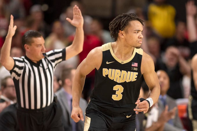 Feb 12, 2019; College Park, MD, USA; Purdue Boilermakers guard Carsen Edwards (3) reacts after making a three point shot during the second half against the Maryland Terrapins at XFINITY Center. Mandatory Credit: Tommy Gilligan-USA TODAY Sports