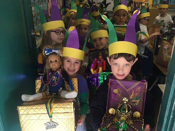 Each year Our Lady of Fatima School students celebrate and learn about Mardi Gras leading up to the observance. Kindergarten classes make floats and masks before having a parade. Pre-K 3 and Campus Ministry also participate in the parade.