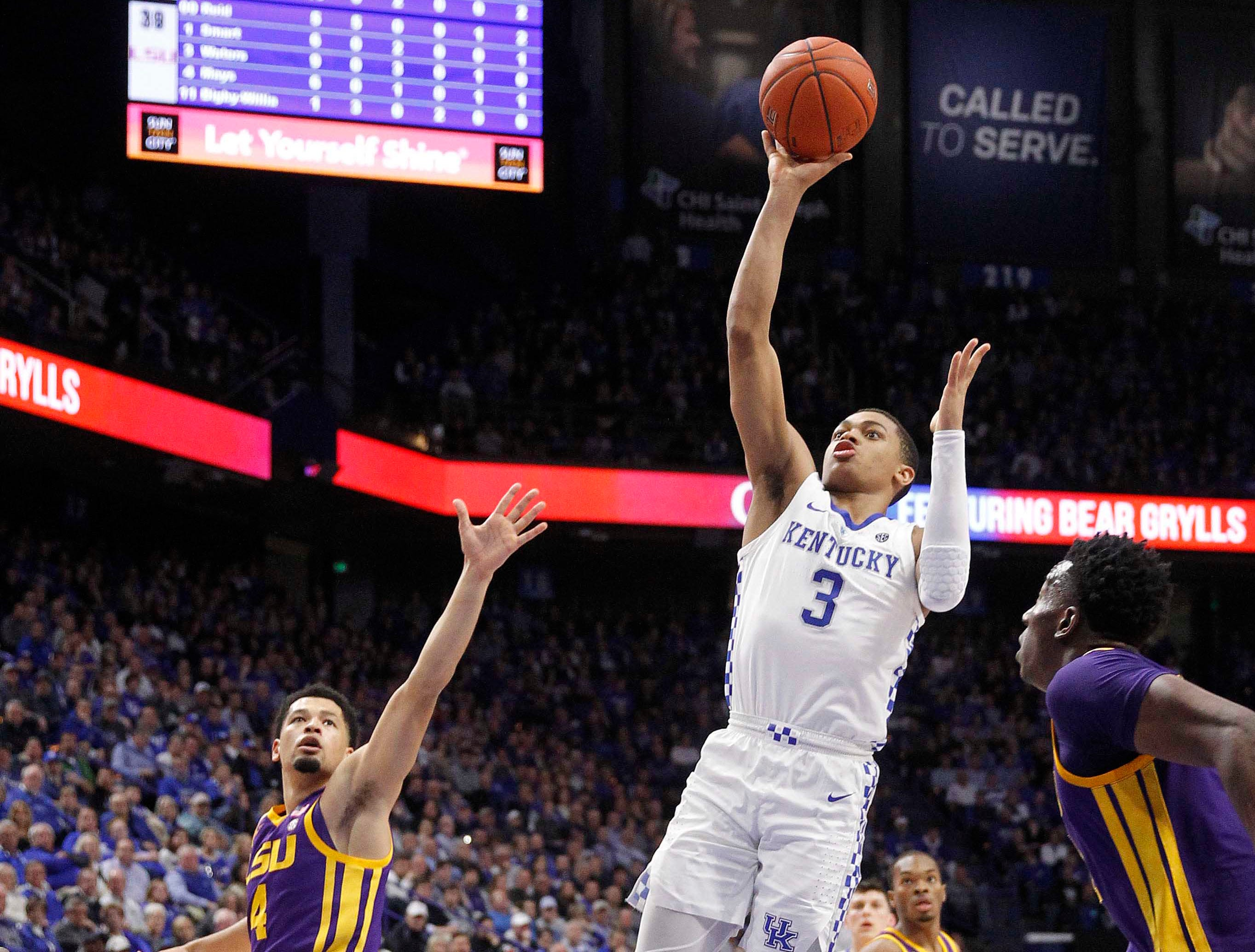 Feb 12, 2019; Lexington, KY, USA; Kentucky Wildcats guard Keldon Johnson (3) shoots the ball against LSU Tigers guard Tremont Waters (3) in the second half at Rupp Arena. Mandatory Credit: Mark Zerof-USA TODAY Sports