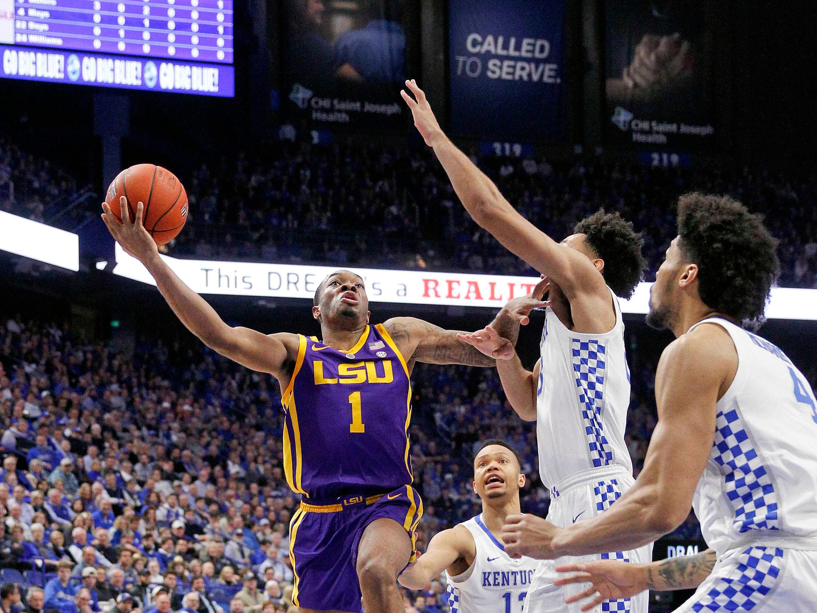Feb 12, 2019; Lexington, KY, USA; LSU Tigers guard Ja'vonte Smart (1) shoots the ball against the Kentucky Wildcats in the first half at Rupp Arena. Mandatory Credit: Mark Zerof-USA TODAY Sports