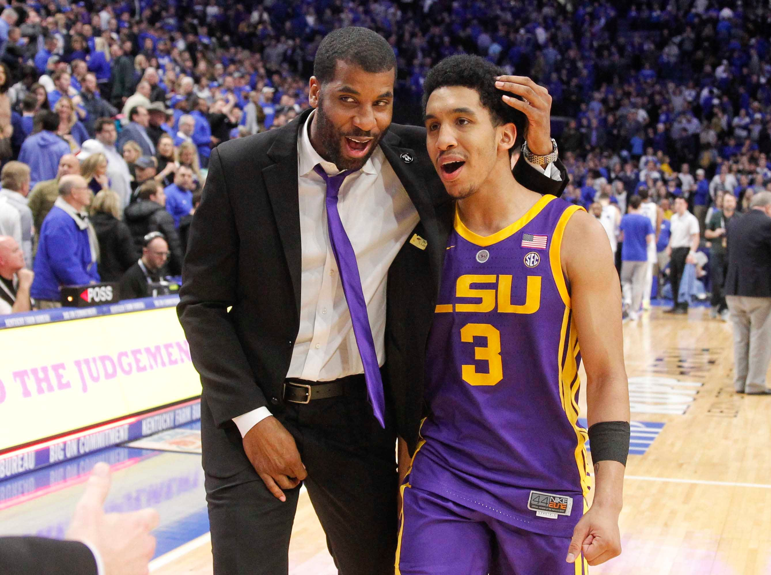 Feb 12, 2019; Lexington, KY, USA; LSU Tigers guard Tremont Waters (3) celebrates after the game against the Kentucky Wildcats at Rupp Arena. Mandatory Credit: Mark Zerof-USA TODAY Sports