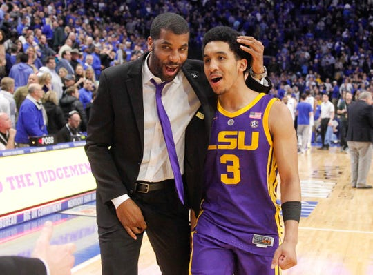 LSU Tigers guard Tremont Waters (3) celebrates after the game against the Kentucky Wildcats at Rupp Arena.