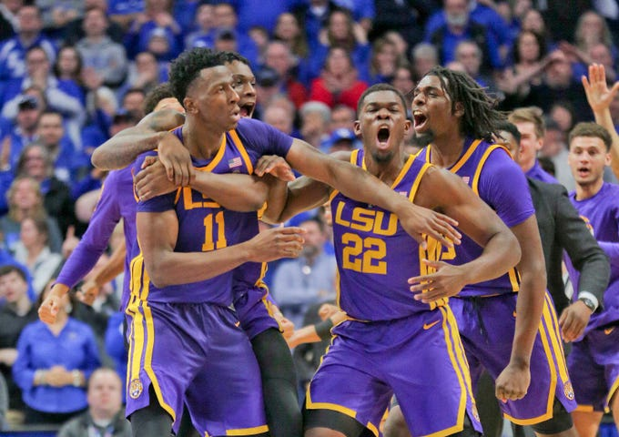 Feb 12, 2019; Lexington, KY, USA; LSU Tigers players celebrates in the game against the Kentucky Wildcats in the second half at Rupp Arena. Mandatory Credit: Mark Zerof-USA TODAY Sports