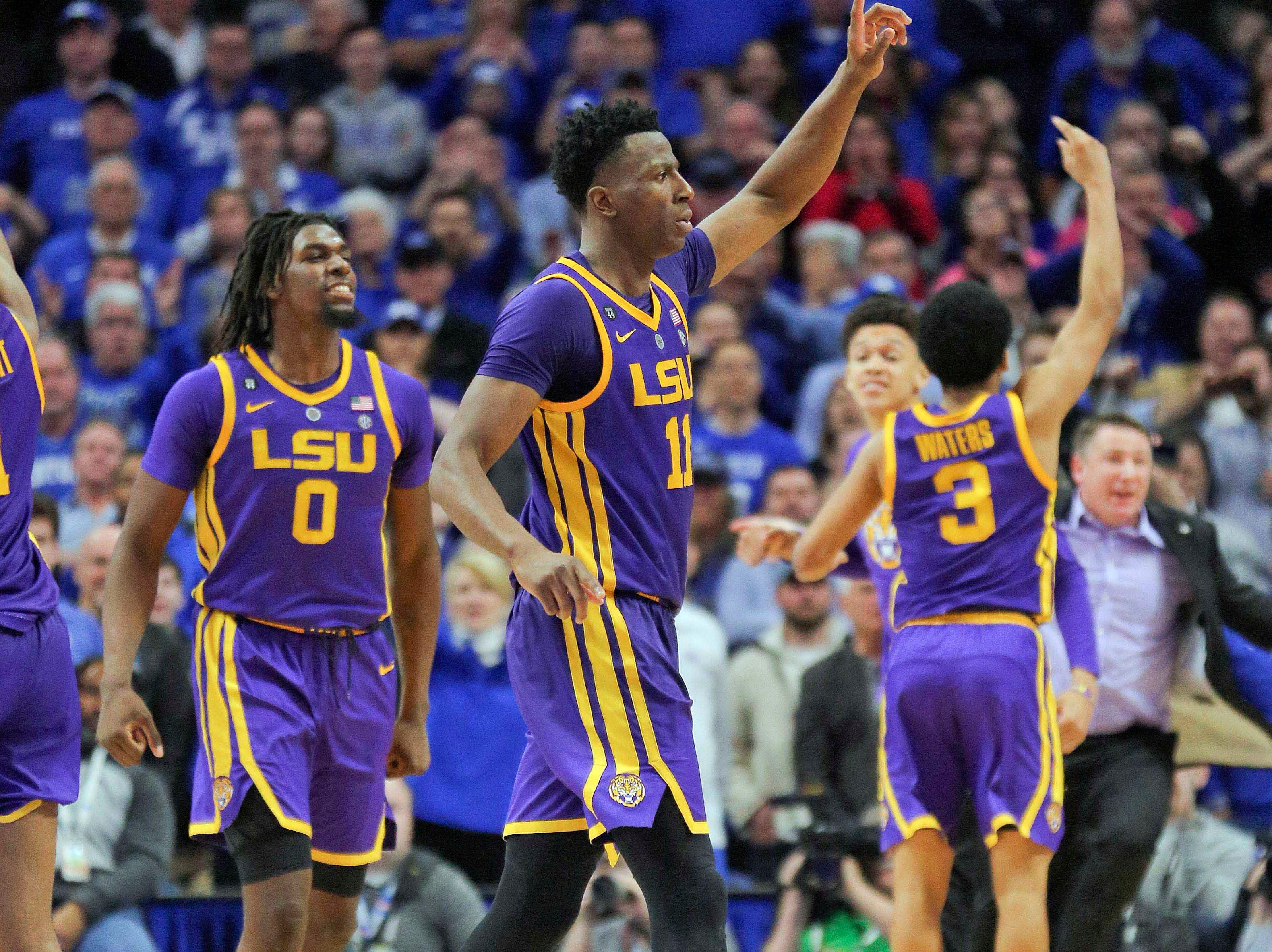 Feb 12, 2019; Lexington, KY, USA; LSU Tigers players celebrate after hitting the game winning shot against the Kentucky Wildcats in the second half at Rupp Arena. Mandatory Credit: Mark Zerof-USA TODAY Sports
