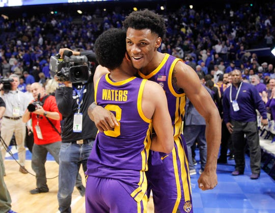 Feb 12, 2019; Lexington, KY, USA; LSU Tigers guard Tremont Waters (3) celebrates with teammates after the game against the Kentucky Wildcats at Rupp Arena. Mandatory Credit: Mark Zerof-USA TODAY Sports