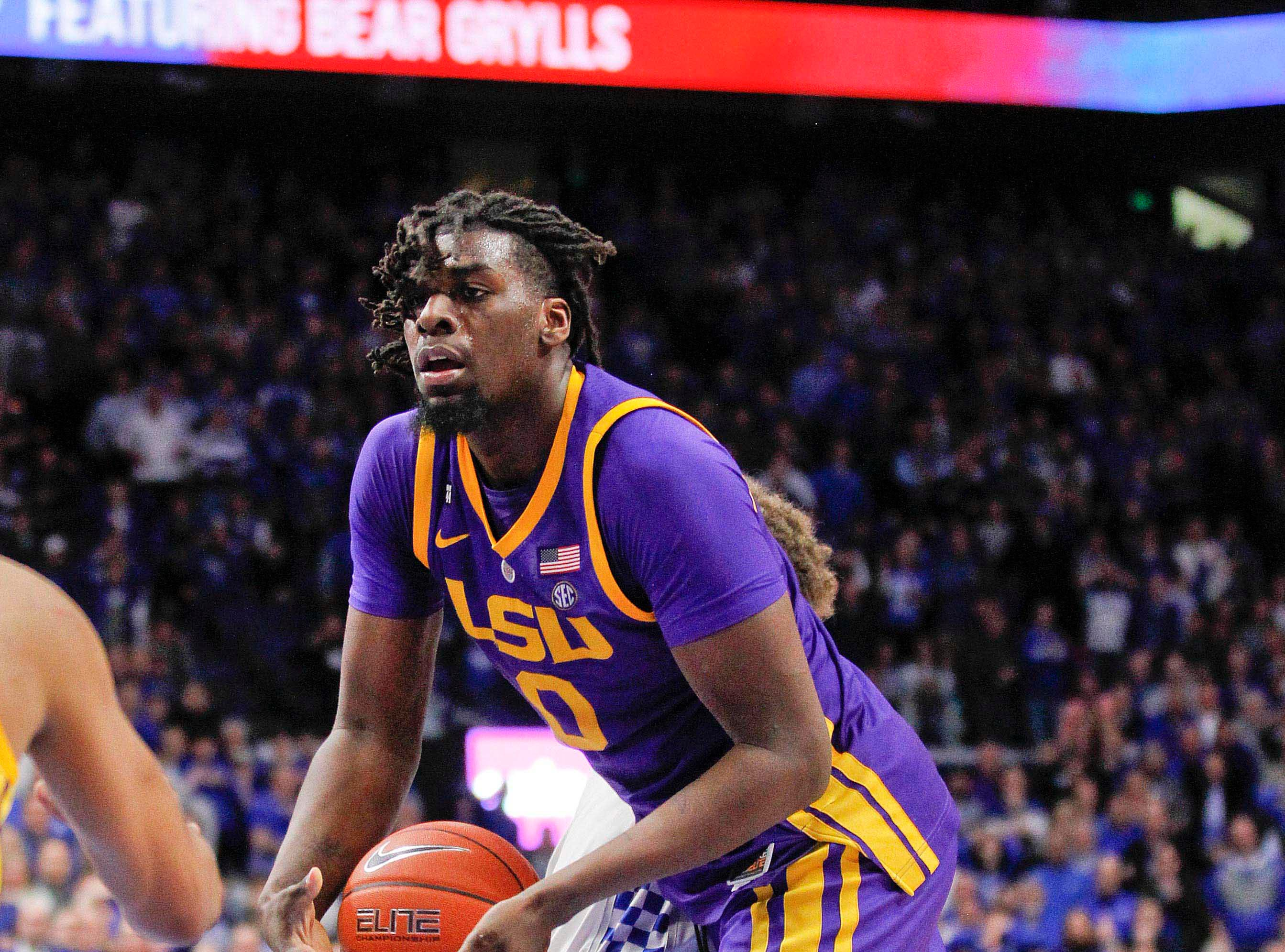 Feb 12, 2019; Lexington, KY, USA; LSU Tigers forward Naz Reid (00) rebounds the ball against the Kentucky Wildcats in the second half at Rupp Arena. Mandatory Credit: Mark Zerof-USA TODAY Sports