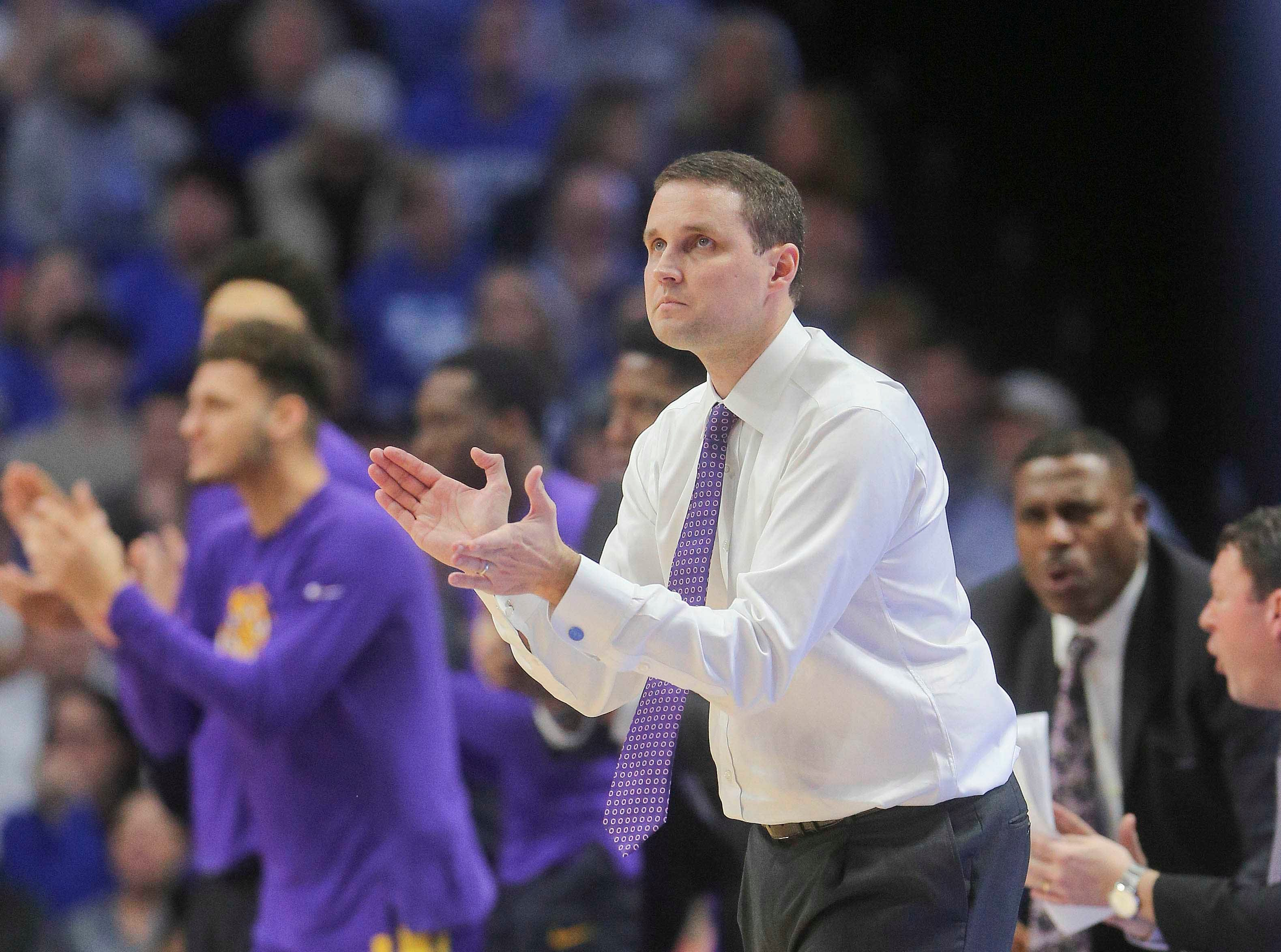 Feb 12, 2019; Lexington, KY, USA; LSU Tigers head coach Will Wade reacts during the game against the Kentucky Wildcats in the second half at Rupp Arena. Mandatory Credit: Mark Zerof-USA TODAY Sports