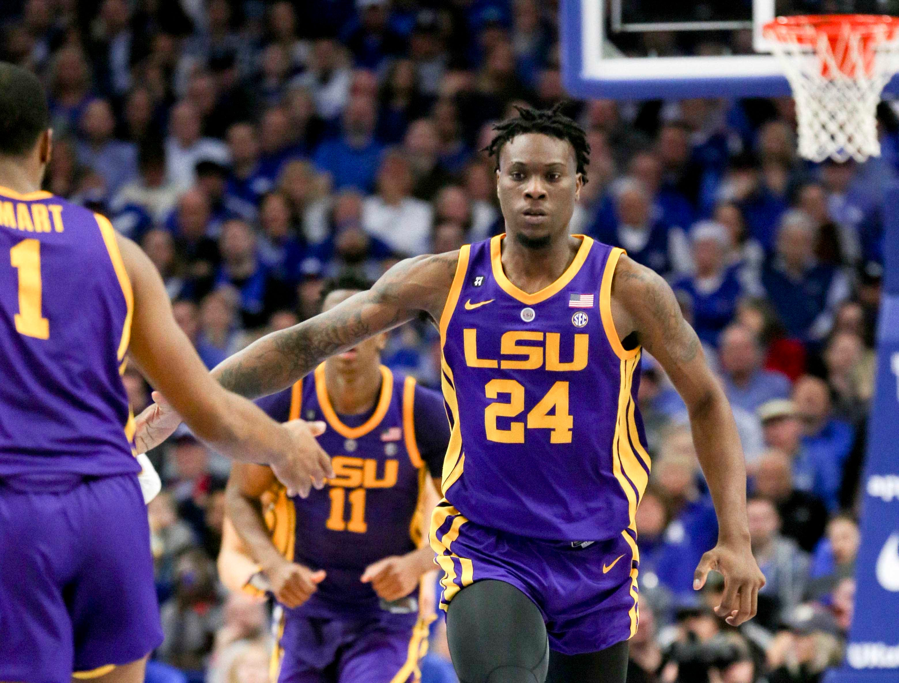 Feb 12, 2019; Lexington, KY, USA; LSU Tigers forward Emmitt Williams (24) reacts during the game against the Kentucky Wildcats in the second half at Rupp Arena. Mandatory Credit: Mark Zerof-USA TODAY Sports