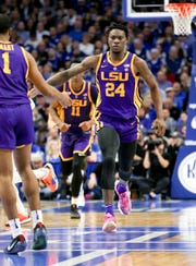 LSU Tigers forward Emmitt Williams reacts during the game against the Kentucky Wildcats in the second half at Rupp Arena on Feb. 12.