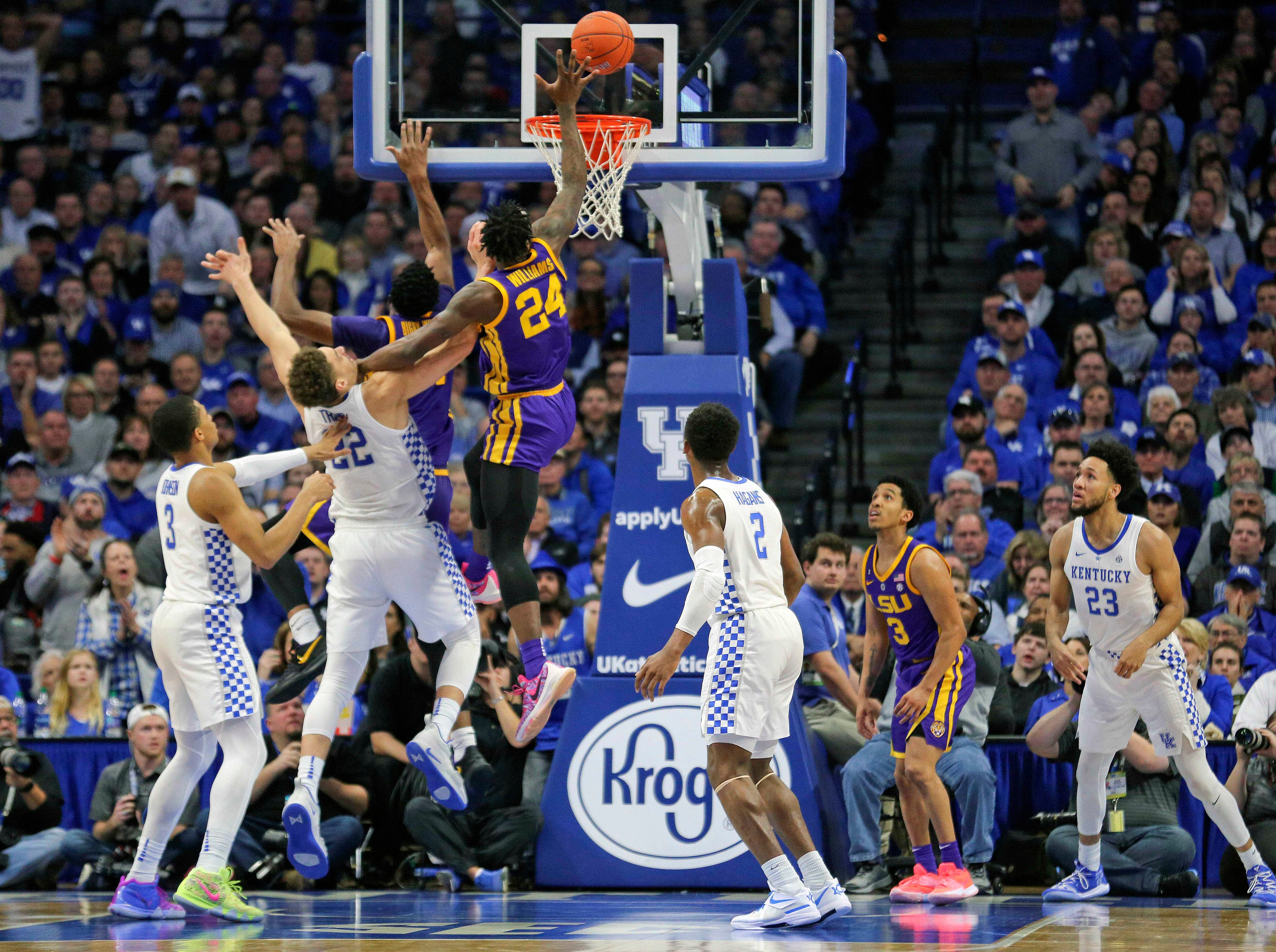 Feb 12, 2019; Lexington, KY, USA; LSU Tigers forward Emmitt Williams (24) shoots the ball against the Kentucky Wildcats in the second half at Rupp Arena. Mandatory Credit: Mark Zerof-USA TODAY Sports