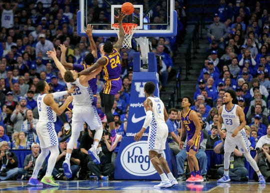LSU Tigers forward Emmitt Williams (24) shoots the ball against the Kentucky Wildcats in the second half at Rupp Arena.