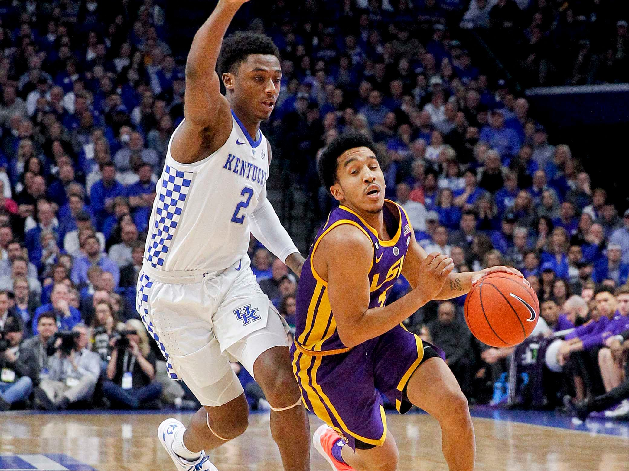 Feb 12, 2019; Lexington, KY, USA; LSU Tigers guard Tremont Waters (3) dribbles the ball against Kentucky Wildcats guard Ashton Hagans (2) in the second half at Rupp Arena. Mandatory Credit: Mark Zerof-USA TODAY Sports