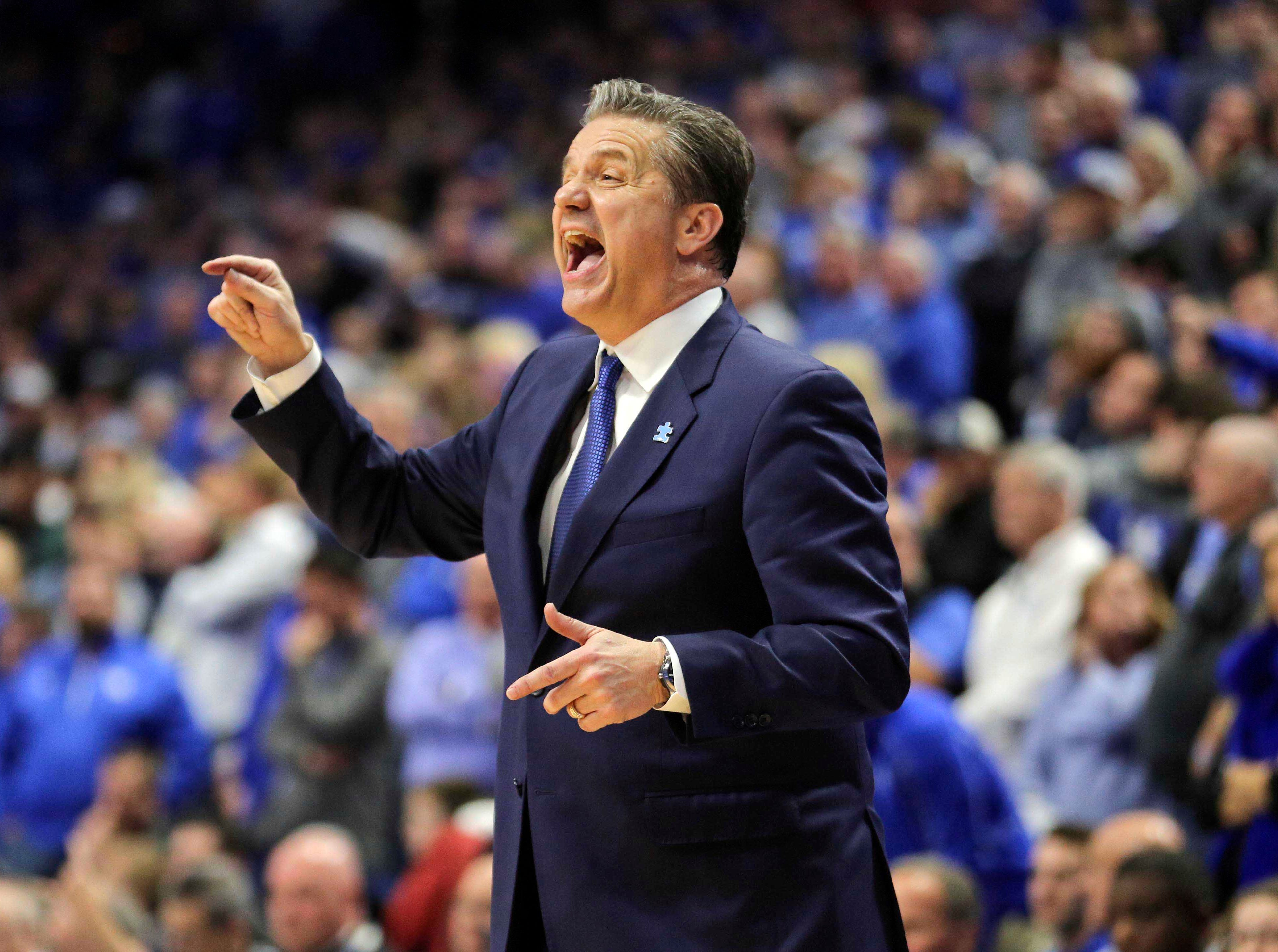Feb 12, 2019; Lexington, KY, USA; Kentucky Wildcats head coach John Calipari reacts during the game against the LSU Tigers in the second half at Rupp Arena. Mandatory Credit: Mark Zerof-USA TODAY Sports