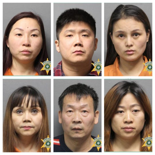 Seven women and two men were charged with prostitution related crimes.