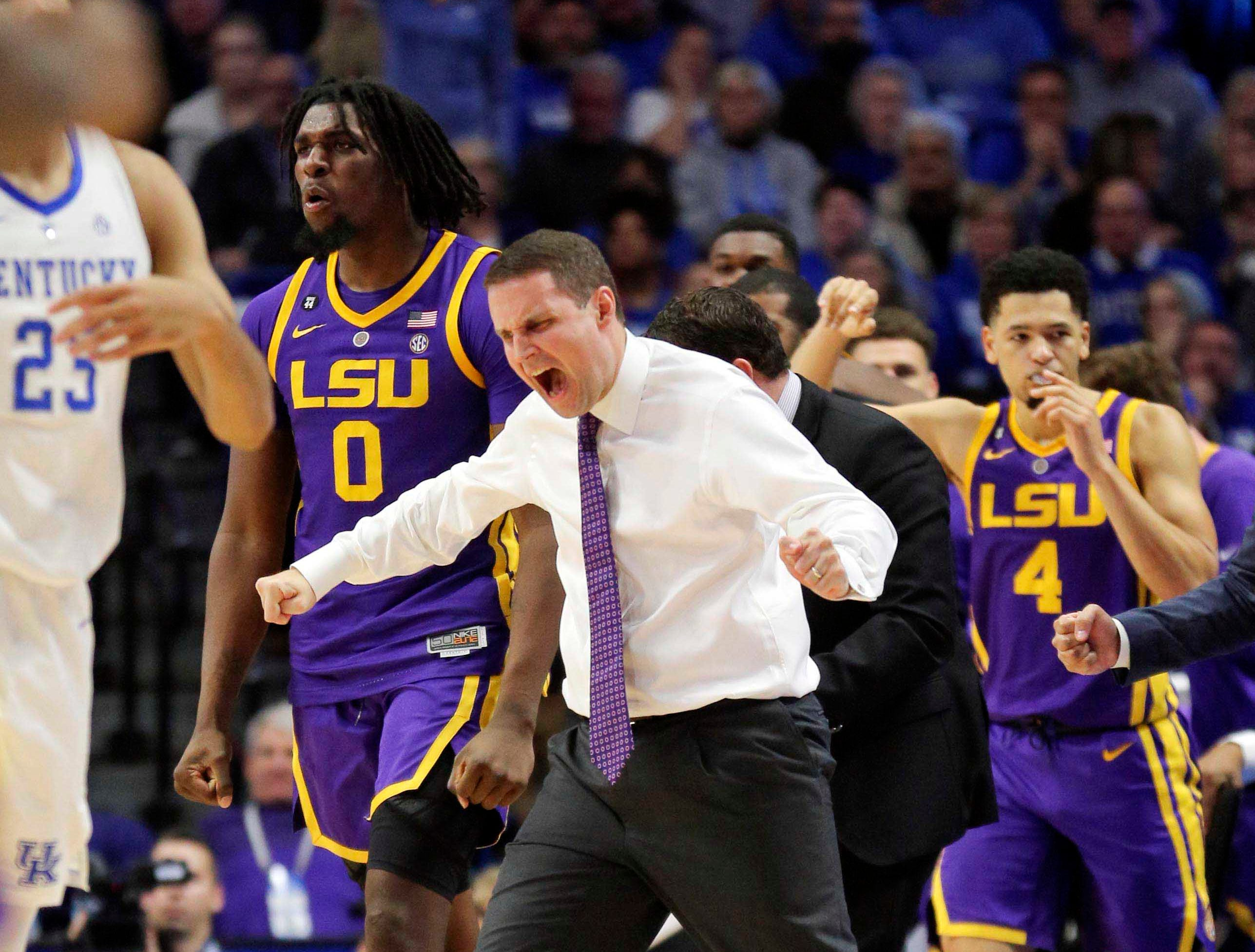 Feb 12, 2019; Lexington, KY, USA; LSU Tigers head coach Will Wade celebrates with his players during the game against the Kentucky Wildcats in the second half at Rupp Arena. Mandatory Credit: Mark Zerof-USA TODAY Sports