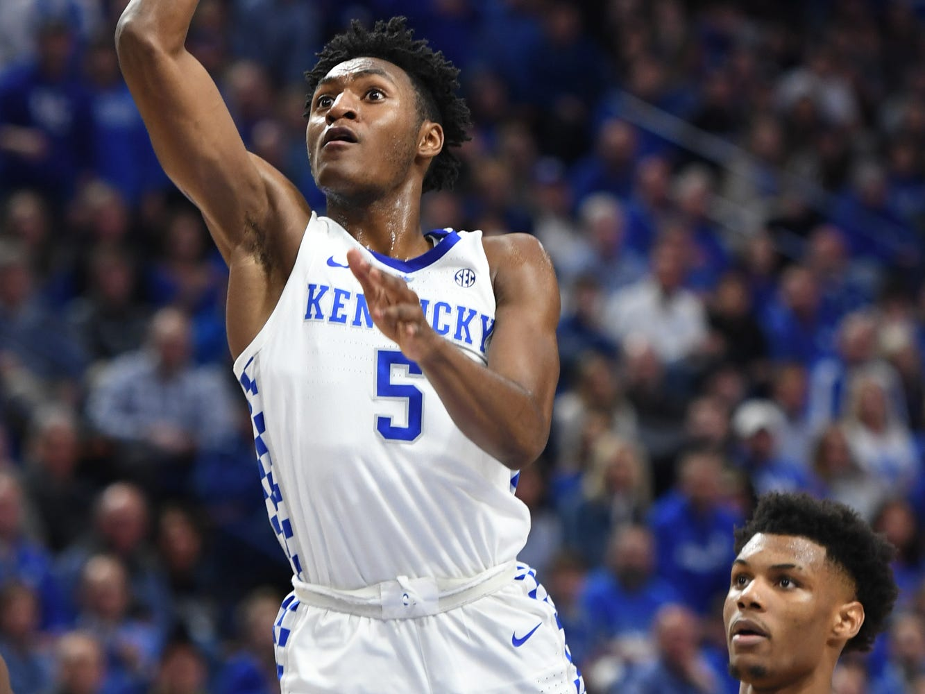 UK G Immanuel Quickley puts up the ball during the University of Kentucky men's basketball game against Louisiana State University at Rupp Arena on Feb. 12, 2018.