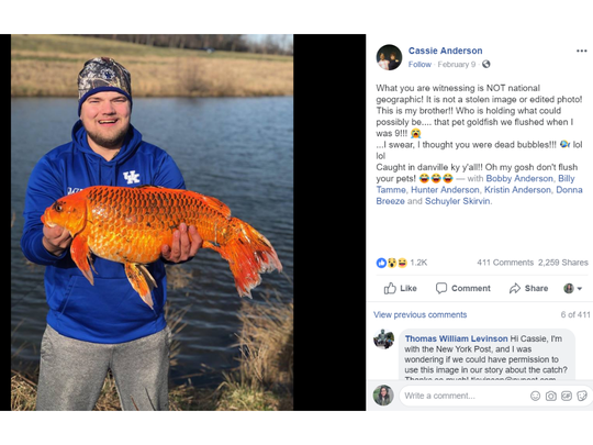 A screenshot of a Facebook post showing Hunter Anderson holding the fish he caught in a Kentucky pond.