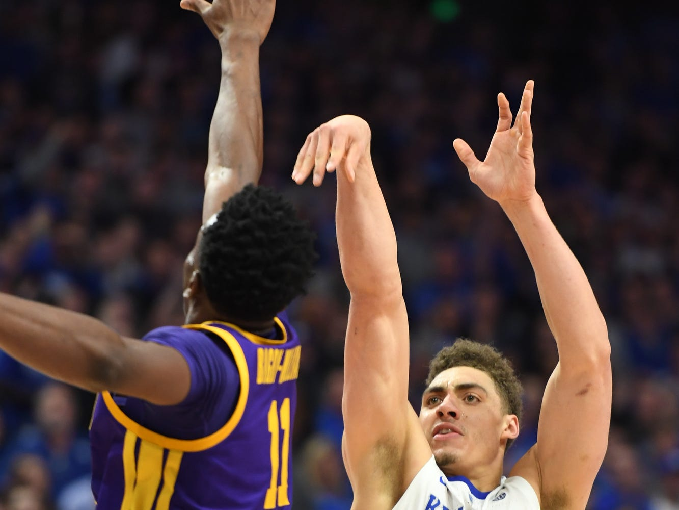 UK F Reid Travis shoots during the University of Kentucky men's basketball game against Louisiana State University at Rupp Arena on Feb. 12, 2018.