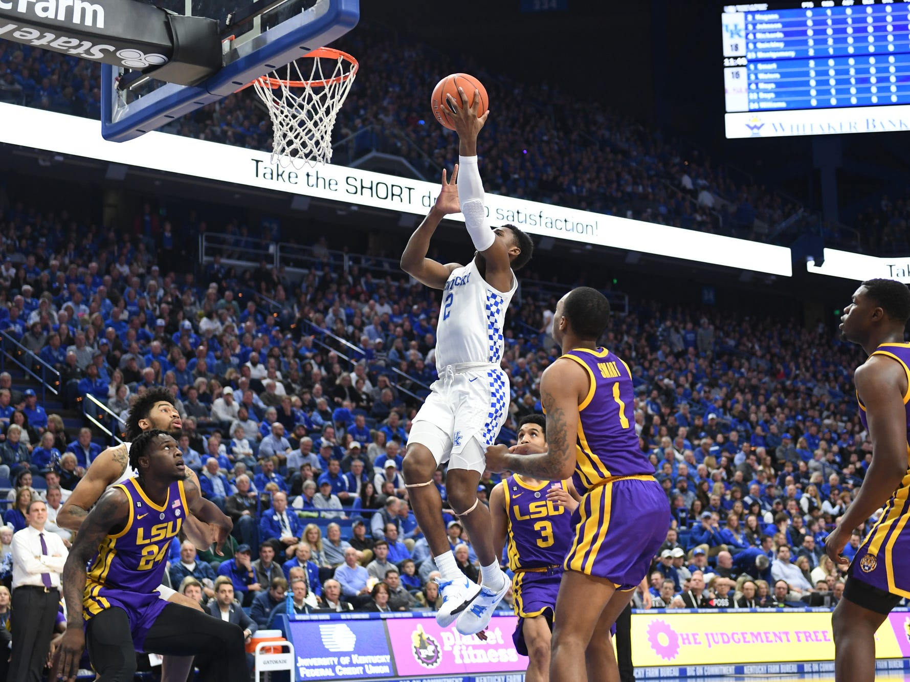 UK G Ashton Hagans lays up the ball during the University of Kentucky men's basketball game against Louisiana State University at Rupp Arena on Feb. 12, 2018.