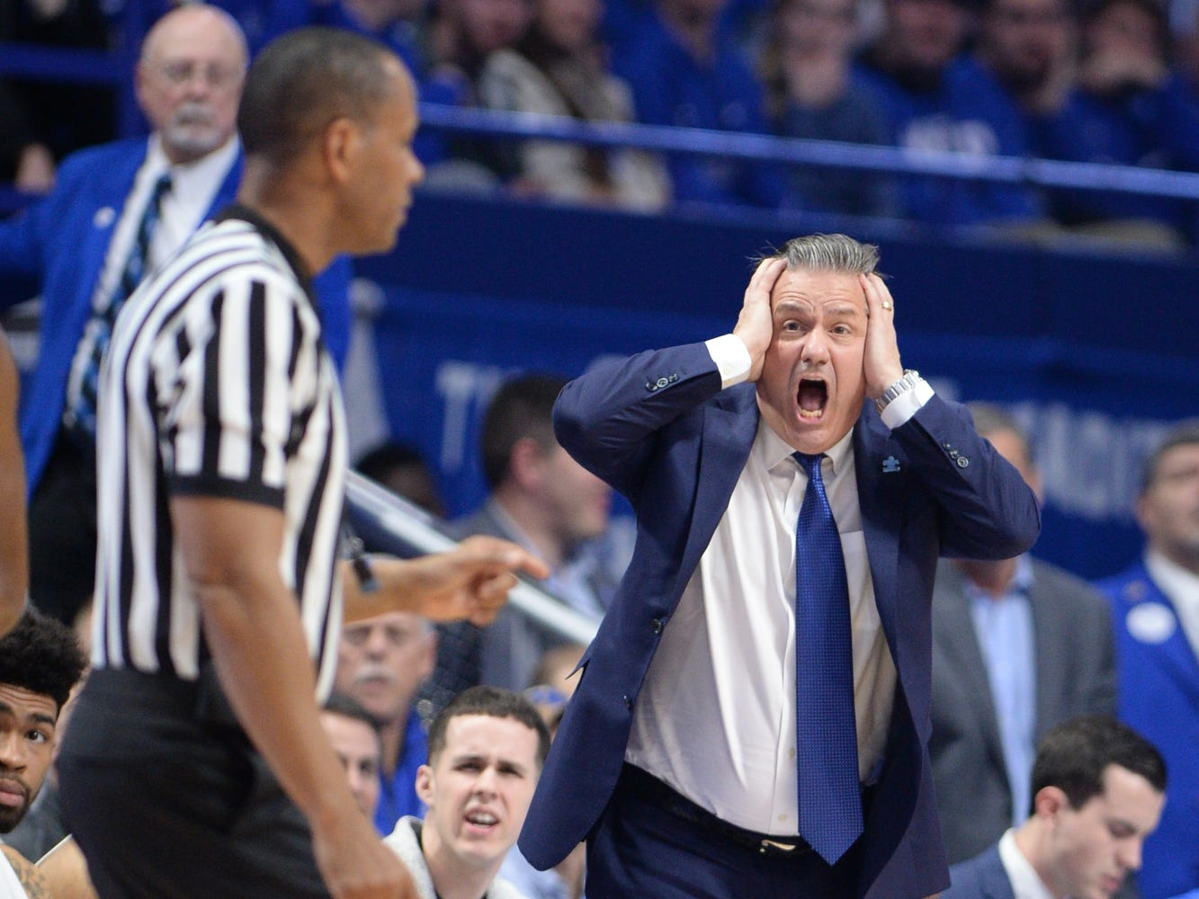 UK head coach John Calipari reacts to a call during the University of Kentucky men's basketball game against Louisiana State University at Rupp Arena on Feb. 12, 2018.
