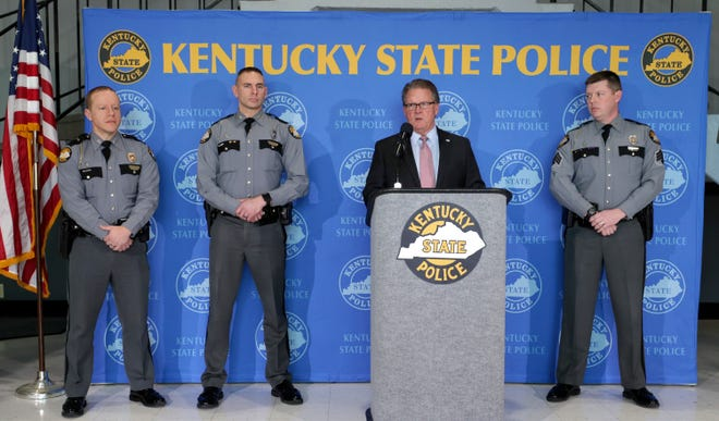 Kentucky State Police Commissioner Rick Sanders briefs the media about the shooting involving a Kentucky State Trooper on Wednesday afternoon at KSP Headquarters in Frankfort.February 13, 2019