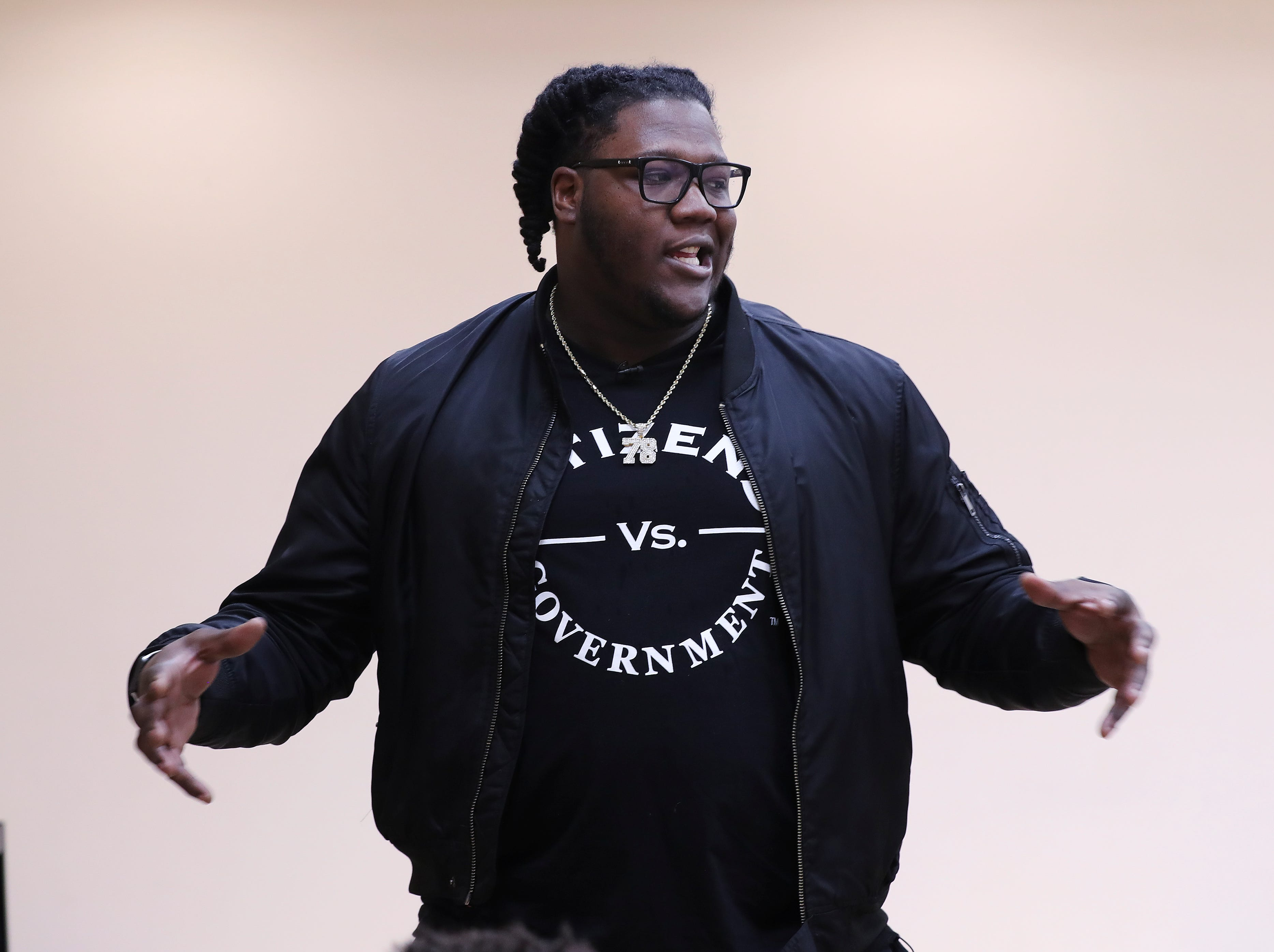 Jamon Brown, a former U of L football player who is in the NFL now, spoke to a group of students at the West End School about ways to prevent bullying.  He plays right guard for the New York Giants.Feb. 11, 2019