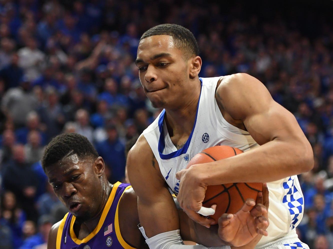 UK F PJ Washington grabs a rebound during the University of Kentucky men's basketball game against Louisiana State University at Rupp Arena on Feb. 12, 2018.