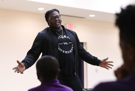 Jamon Brown speaks with students at Louisville's West End School in February 2019.