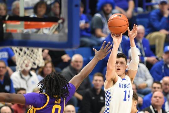 UK G Tyler Herro shoots during the University of Kentucky men's basketball game against Louisiana State University at Rupp Arena on Tuesday, Feb. 12, 2018.