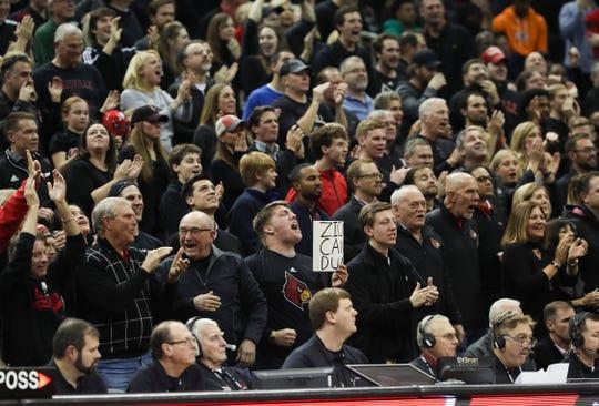 U of L fans celebrated a score against Duke at the Yum Center.Feb. 12, 2019