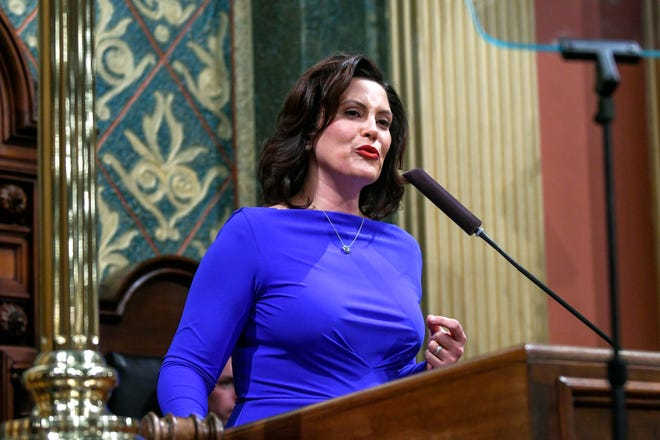 Michigan Gov. Gretchen Whitmer delivers her State of the State address on Tuesday, Feb. 12, 2019, at the Michigan State Capitol in Lansing.