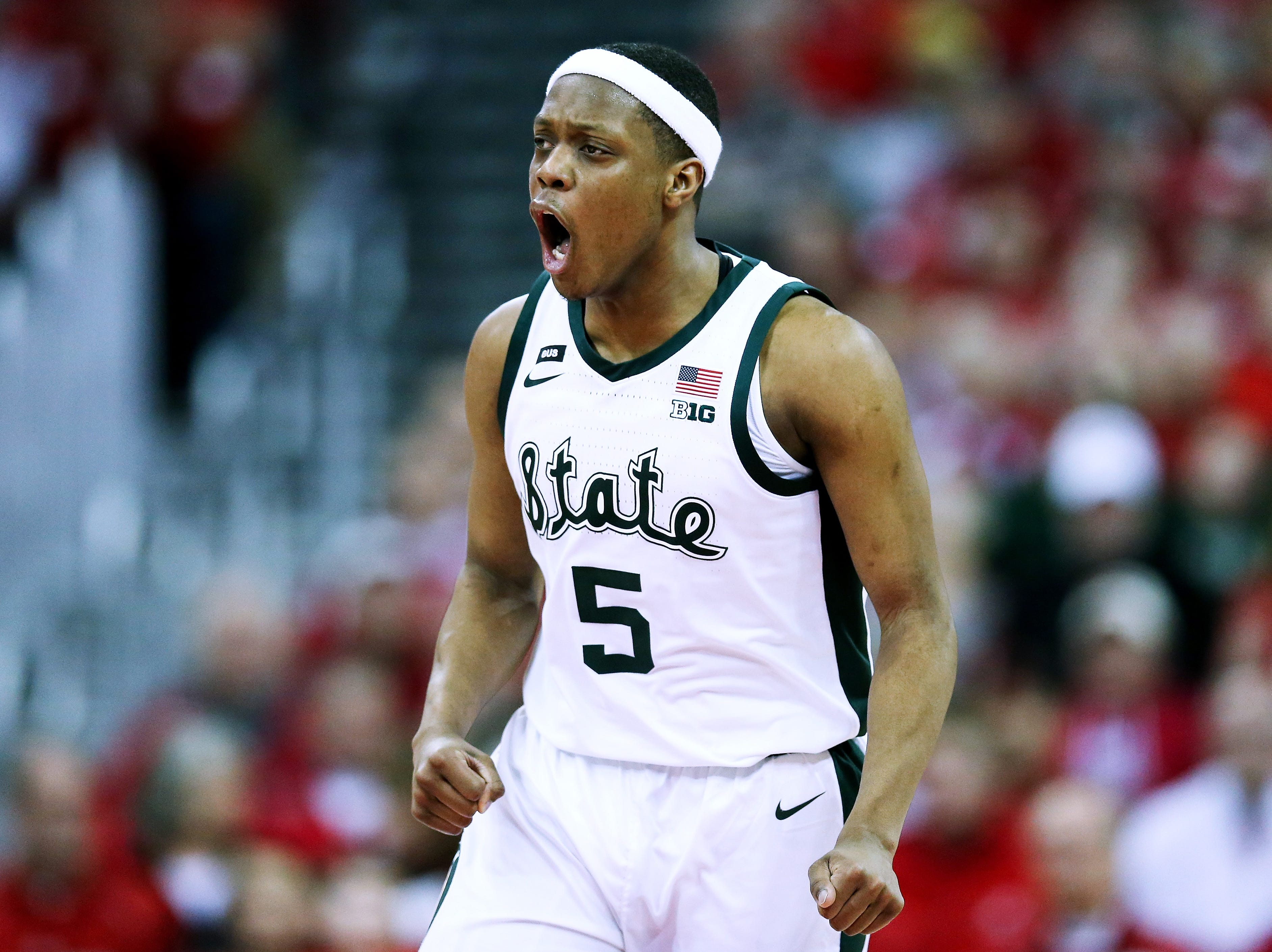 Cassius Winston #5 of the Michigan State Spartans reacts in the first half against the Wisconsin Badgers at the Kohl Center on February 12, 2019 in Madison, Wisconsin.