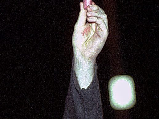 A man holds up a shotgun shell from a police car before it was burned on Saturday, March 27, 1999, in East Lansing.