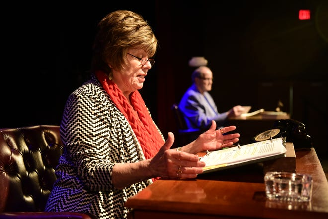 Marianne Cooper reads one of her character's letters as Ray Gerrell listens during a recent rehearsal of Love Letters, which will be performed Thursday and Friday at OSU-Mansfield.
