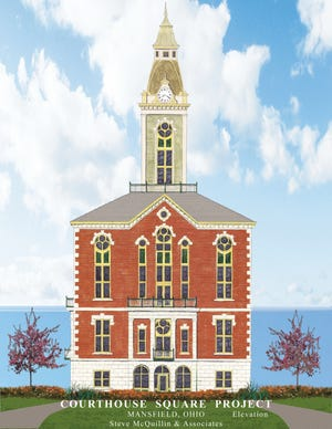 Historic preservation consultant Steve McQuillin proposed building a replica of the 1871 Richland County Courthouse at Tuesday's commissioners meeting.