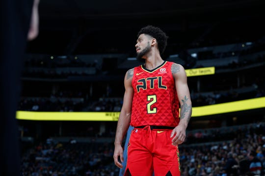 Atlanta Hawks guard Tyler Dorsey (2) in the first half of an NBA basketball game Thursday, Nov. 15, 2018, in Denver. (AP Photo/David Zalubowski)