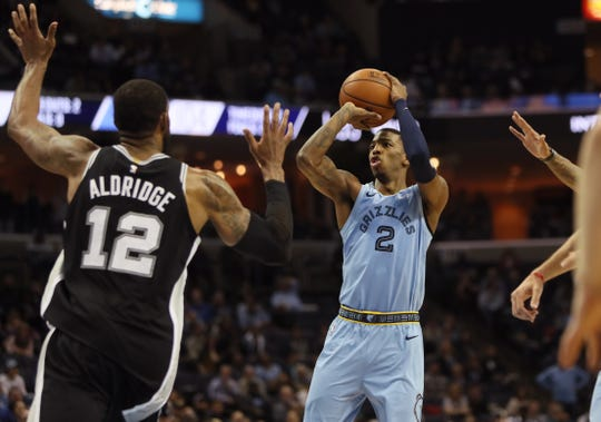 Grizzlies guard Delon Wright shoots over Spurs forward LaMarcus Aldridge during their game Tuesday at FedExForum.