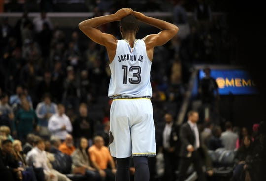 Memphis Grizzlies forward Jaren Jackson Jr. walks off the court after he missed a free throw that would have sent the game to overtime against the San Antonio Spurs at the FedExForum on Tuesday, Feb. 12, 2019.