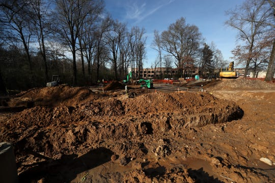 Crews work on the beginning stages of The Grove, Germantown Performing Arts Center's outdoor venue, which is slated to be finished next year.
