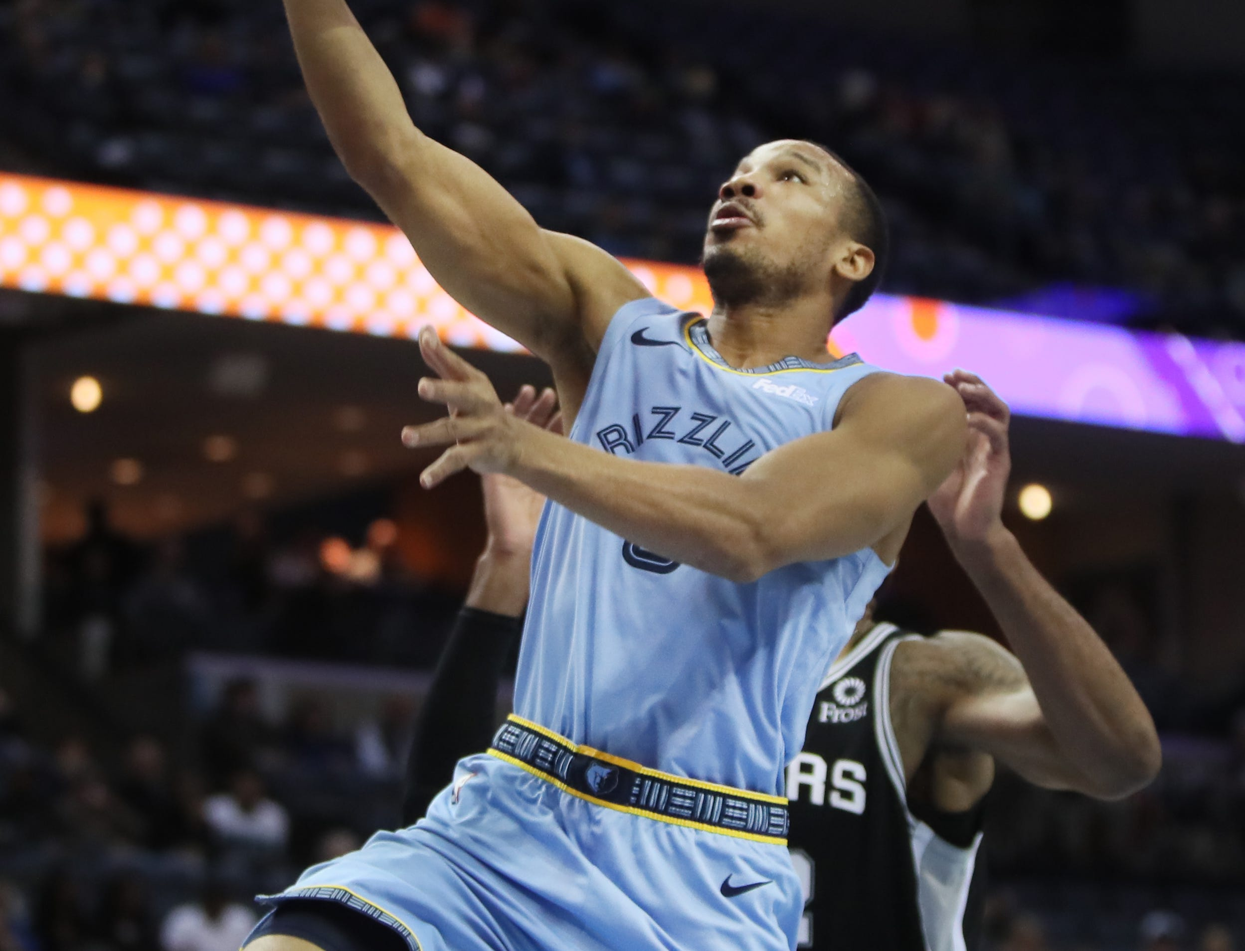 Memphis Grizzlies guard Avery Bradley lays the ball up against the San Antonio Spurs during their game at the FedExForum on Tuesday, Feb. 12, 2019.