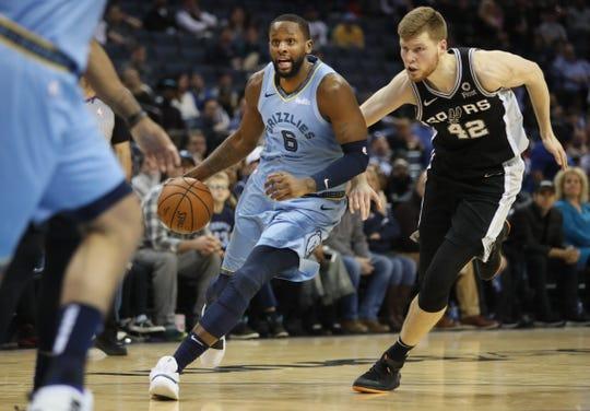 Memphis Grizzlies forward CJ Miles drives the ball past San Antonio Spurs forward Davis Bertans during their game at the FedExForum on Tuesday, Feb. 12, 2019.