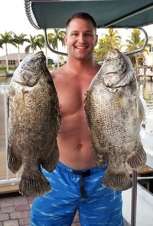 Joe Pitrone caught these triple tail near Isles of Capri using live shrimp.