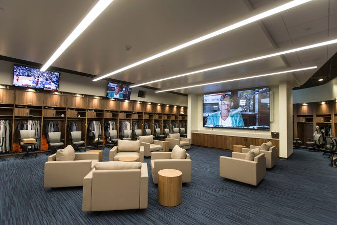 The sprawling new major-league clubhouse at the American Family Fields of Phoenix is a huge upgrade over the Brewers' cramped quarters at Maryvale Baseball Park.