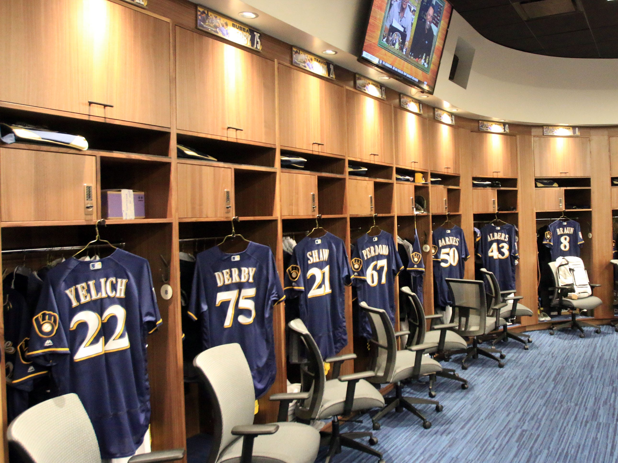 A look at the Milwaukee Brewers new clubhouse at s American Family Fields of Phoenix.