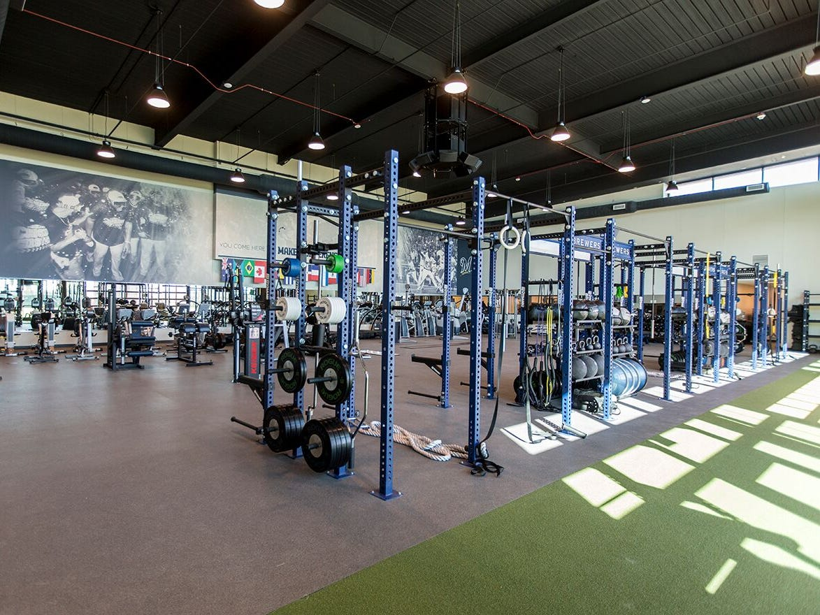 A brand new workout room is shown at American Family Fields of Phoenix on Tuesday..