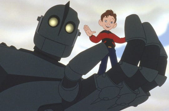 "An alien killing machine loses its memory, crashes on Earth and befriends a small-town boy in ""The Iron Giant."""