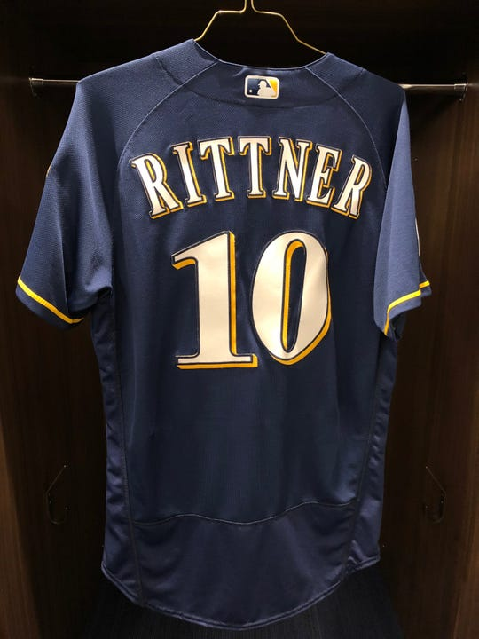 A jersey honoring fallen MPD officer Matthew Rittner hangs in the Brewers spring training clubhouse.