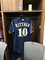 A jersey in honor of fallen MPD officer Matthew Rittner hangs in the clubhouse at the Brewers' spring training facility in ARizona.